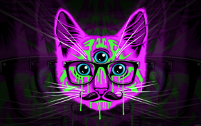 psychedelic, cat, glasses, mustache