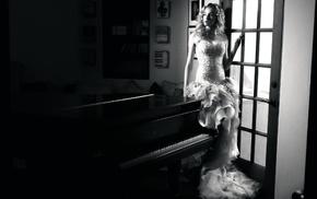 piano, girl, monochrome, model