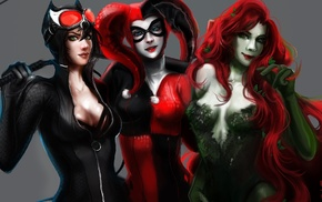 Poison Ivy, fantasy art, Catwoman, Harley Quinn, DC Comics