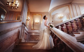 stairs, brides, girl