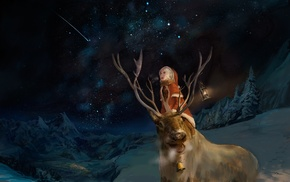 snow, bell, deer, night, shooting stars, lantern