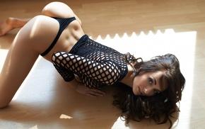 brunette, Michaela Isizzu, girl, back dimples, bent over, fishnet top
