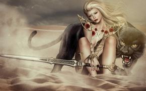 fantasy art, warrior, animals, artwork, girl