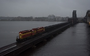 train, bridge, diesel locomotive