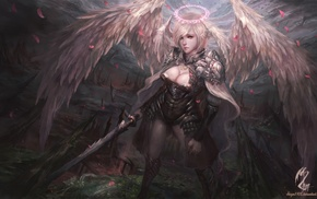 warrior, angel, sword, fantasy art, girl, artwork