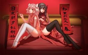 anime, Mahou Shoujo Madoka Magica, Akemi Homura, thigh, highs, Kaname Madoka