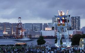 photography, Gundam, people, water, building, city