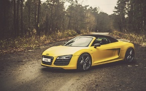 Audi R8 Spyder, car, Audi, yellow