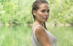 girl outdoors, wet, see, through clothing, wet clothing, wet hair