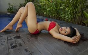 arched back, bikini, armpits, girl, swimwear, Asian