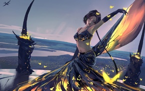 Ghost Blade, WLOP, painting, fantasy art, girl