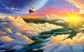 artwork, fantasy art, boat, clouds