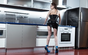 kitchen, latex, girl, model, Ariane Saint, Amour