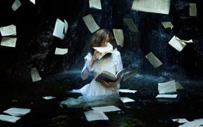 model, white dress, books, girl, water, fantasy art