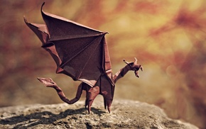 artwork, paper, depth of field, tail, dragon, origami