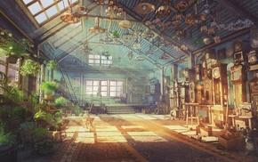 artwork, lights, fantasy art, plants, clocks