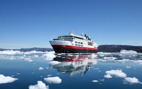 glaciers, iceberg, clouds, hills, ship, nature