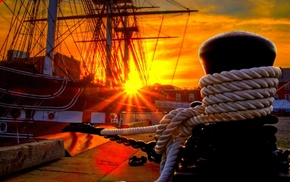sailing ship, building, wood, house, sun rays, ropes