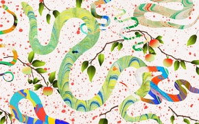 apples, leaves, artwork, colorful, abstract, snake