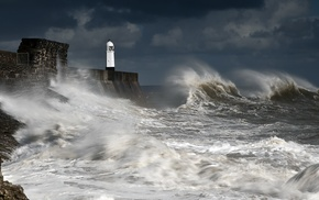 lighthouse, waves, sea, coast