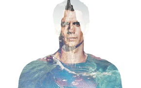 water, faded, Superman, mountains