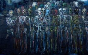 artwork, skull, skeleton, bones, digital art, painting