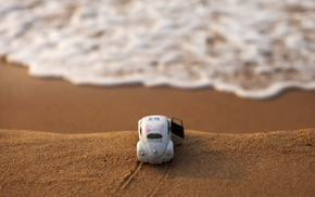 water, macro, beach, Volkswagen Beetle, car, toys
