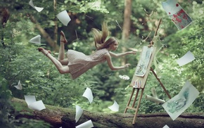 easel, floating, fantasy art, windy, blonde, model