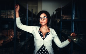 cleavage, girl with glasses, girl, model