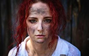 dirt, face, model, girl, redhead