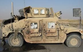 military, war, Hummer H1, wreck