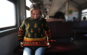 train, Milena D, blonde, MetArt Magazine, sweater, jeans