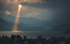 lake, sun rays, nature, Nepal, landscape, clouds