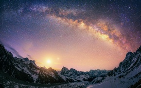 long exposure, Himalayas, mountains, galaxy, nature, landscape