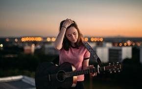model, guitar, rooftops, girl, depth of field