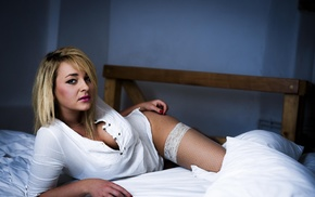 girl, in bed, blonde, bed, model