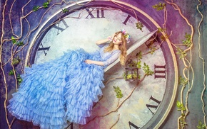 clocks, fantasy art, cages, Alice, model, girl