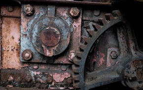 rust, machine, gears, industrial