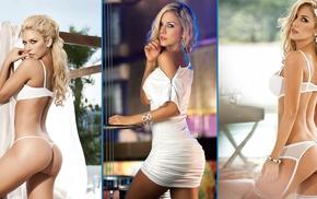 girl, collage, lingerie, model, Lina Posada, blonde