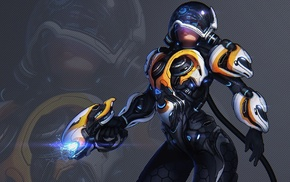 weapon, power suit, science fiction, space suit, simple background