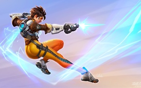 dark hair, science fiction, shooting, legs, Tracer Overwatch, weapon