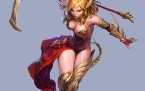 blonde, scythe, long hair, simple background, cleavage, weapon