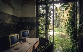 door, monitor, old building