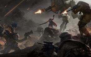 Warhammer 40, 000, battle, artwork, fantasy art