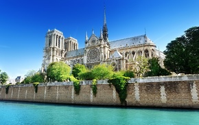 Paris, building, water, Notre, dame, France