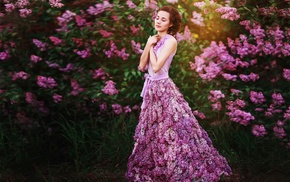 girl, flowers, model, closed eyes, pink dress, pink flowers