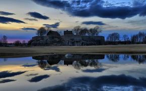 landscape, house, nature, lake, trees, reflection