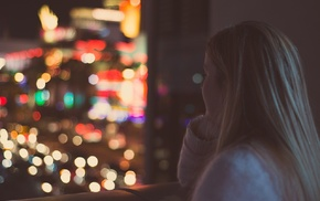 blonde, bokeh, city lights, girl