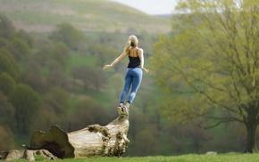 girl outdoors, jumping, blonde, girl