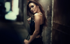 looking at viewer, black clothing, Asian, girl, portrait
